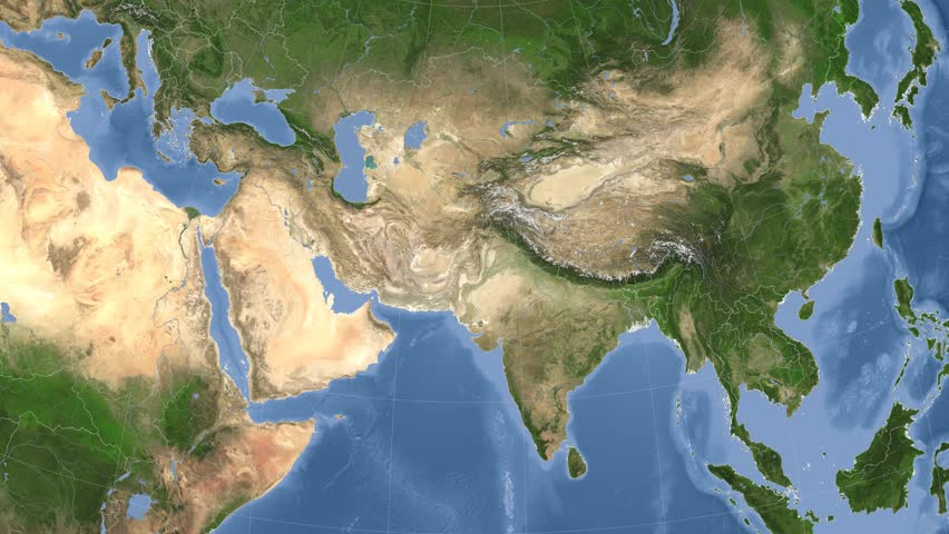 Pakistan On The Satellite Map Outlined And Glowed Elements Of - Asia satellite map