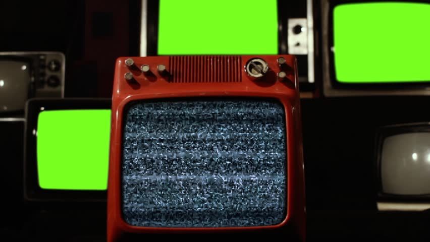 Malfunction Old Tvs with Green Screen. Zoom Out.   | Shutterstock HD Video #1022959258