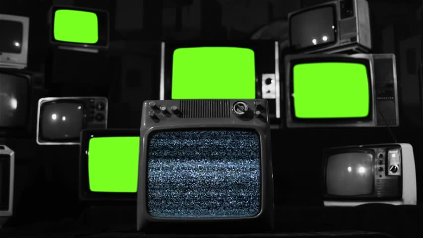 "Malfunction Old Tvs with Green Screen. BW Tone. You can replace green screen with the footage or picture you want with ""Keying"" effect in After Effects  (check out tutorials on YouTube). 