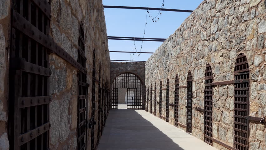 YUMA, ARIZONA / USA - JULY 2018: Yuma Territorial Prison State Historic Park in Yuma, Arizona, United States of America. US historical museum operated by Arizona State Parks. Cells in old US jail