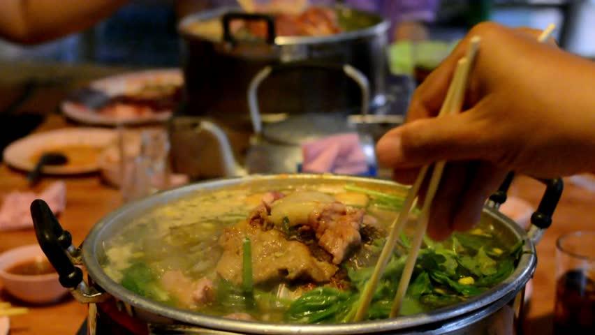 Thai buffet food grilled pork.(Moo Ka Ta)
