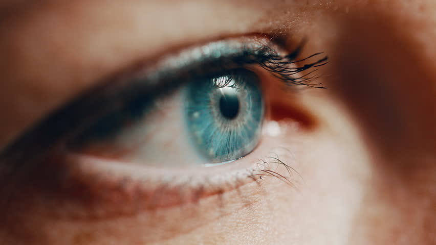 A woman with blue eyes who is wearing mascara, opens her eyes in a profile close up.  #1023018958