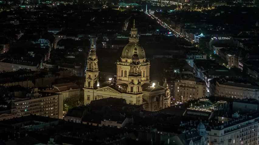 Aerial View of Budapest, St. Stephen's Basilica at night, Hungary | Shutterstock HD Video #1023050638