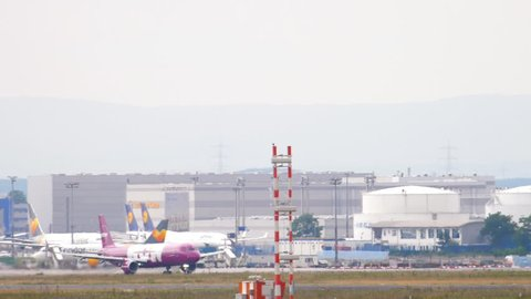 FRANKFURT AM MAIN, GERMANY - JULY 20, 2017: WOW Air Airbus 321 TF-WIN departure at runway 07C. Fraport, Frankfurt, Germany
