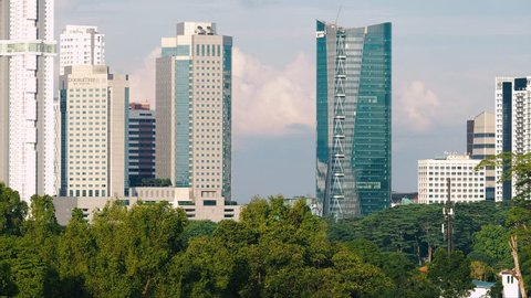 JOHOR BAHRU, JOHOR / Malaysia - 09 11 2018: Cityscape Telephoto Timelapse in Johor Bahru City, Malaysia