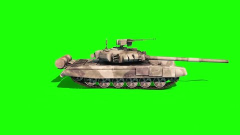 Tank Animated Tracks Military Green Screen 3D Rendering Animation