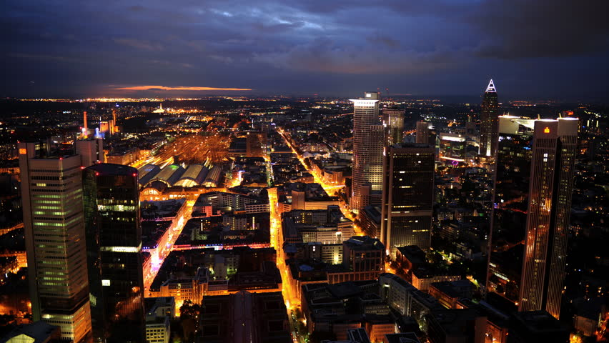 Time Lapse Aerial View of Frankfurt Skyline Cars Traffic on Street Dusk to Night