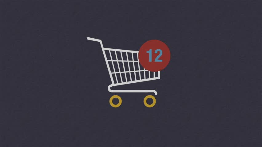 Animation of adding Items to a shopping cart Icon.  Shopping cart appears from the left,  animated counting numbers. | Shutterstock HD Video #1023149608