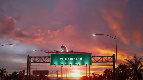 Airplane Take off Willemstad during a wonderful sunrise