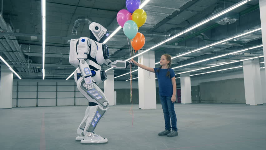 Robot is giving balloons to a girl and then touching her hand