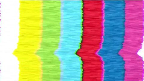 Bad sync TV. Analogue television screen with noise.  Bad signal on colorful test screen from old tv.