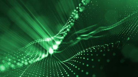 Composition with oscillating luminous particles that form surface. Abstract background of glowing particles with shining bokeh sparkles. Smooth animation looped. Green 8