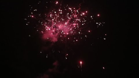 Beautiful fireworks show in the night sky. Multiple colorfull fireworks. Slow motion.
