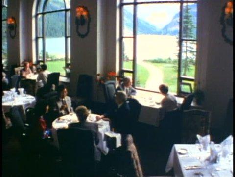 BANFF NATIONAL PARK, ALBERTA, 1990, Chateau Lake Louise Hotel, dining room
