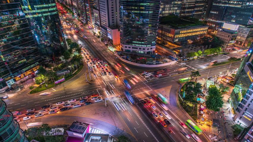 Night traffic of Seoul,City at South Korea.Time Lapse 4k | Shutterstock HD Video #1023317398