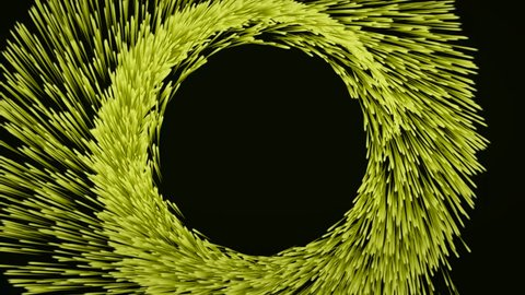 Abstract animation of colorful tunnel with yellow growing particles moving in a spiral on a black background. Colorful animation.