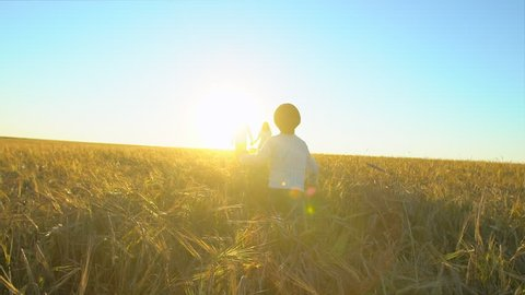 happy family walking together outdoors wheat field with little boy son kid child running to parents mother father adoption nature summer love travel happy holiday happiness motherhood pregnancy sunset