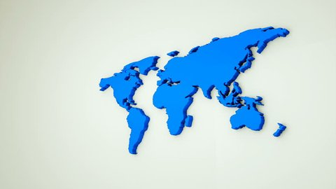 Global world map, 3d flat Earth map are on wall, globe worldmap symbol, 3d rendering computer generated background