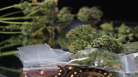 This stock video features a close-up shot of fresh medical marijuana buds on the table. There is also a small electric scale sitting next to the buds.