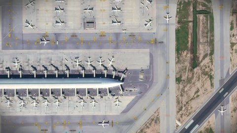 Barcelona Airport top view with the aircraft, the terminal building and runway