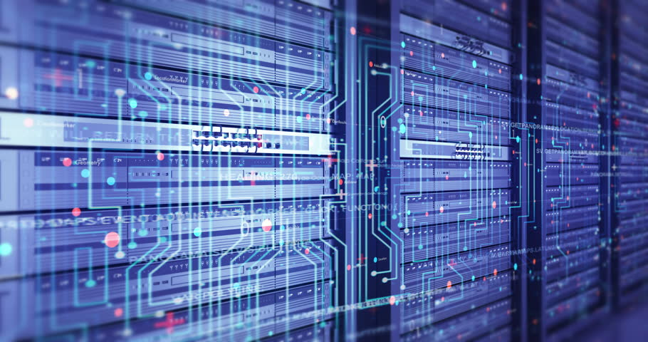 Close Up Modern Server Room Environment. Computer Racks All Around With Flying Texts. Technology Related 4K Cg Animation. Seamless Loop. | Shutterstock HD Video #1023494338