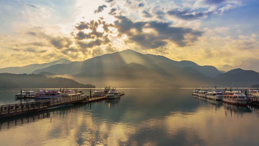 8K Sunrise time-lapse at Chaowu Wharf, Sun Moon Lake, Taiwan | Shutterstock HD Video #1023495448