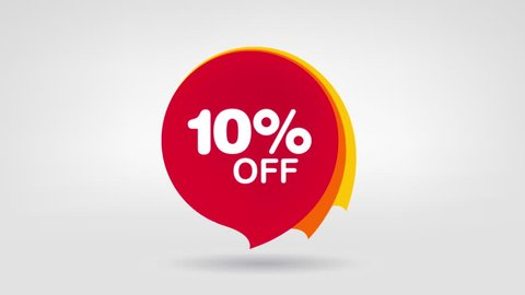 10% OFF Sale Banner Special Offer Deal. Animated Red Price Tag.
