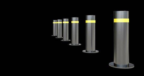 Bollards.Automatic traffic barrier. 3d bollards. luma matte.alpha matte. 4k vehicle barrier, roadblock