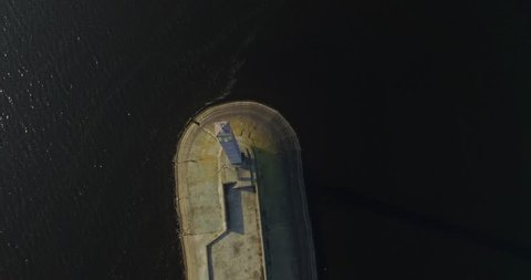 Lighthouse From Drone.Beacon Aerial.Drone Top Down Lighthouse.Drone Footage Approaching Lighthouse.Aerial View From Height Of Lake Lighthouses.Aerial View Of River Lighthouse Beacon.Stunning Beacon