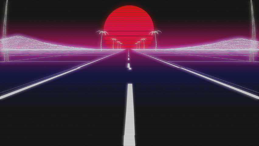 Synthwave road palms and sun day 80s Retro Futurism wireframe Background 3d illustration render seamless loop low angle with glitch retro old VHS effect | Shutterstock HD Video #1023530938