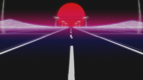 synthwave road palms and sun day 80s Retro Futurism wireframe Background 3d illustration render seamless loop low angle with glitch retro old VHS effect