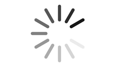 Loading circle icon on white background animation with alpha channel and green screen