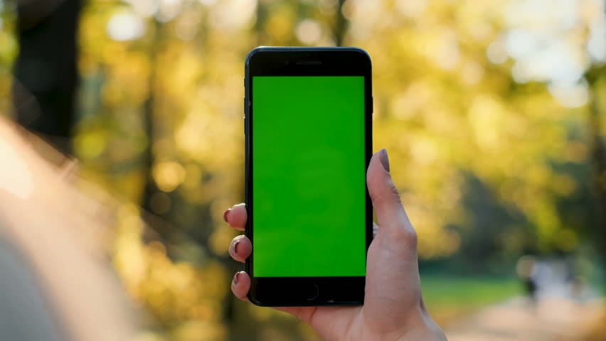 Female hand holding smartphone with green screen. Girl using mobile phone while walking in the autumn park. Back view shot. Chroma key, close up woman hand holding phone with vertical green screen.
