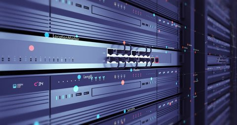 Close up Modern Server Room Stock Footage Video (100
