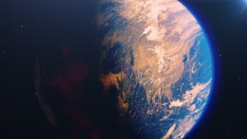 Beautiful sunrise world skyline. Planet earth from space. Planet earth rotating animation. Clip contains space, planet, galaxy, stars, cosmos, sea, earth, sunset, globe. 4k 3D Render. Images from NASA | Shutterstock HD Video #1023566668