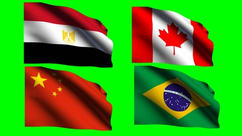 Waving flag isolated on green screen background video Flag waving in the wind