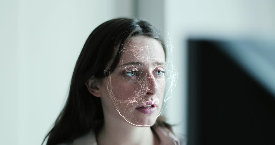 Business woman has bank and telephone bank protection by facial recognition, cyber security, business, technology and future | Shutterstock HD Video #1023573148