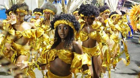 RIO DE JANEIRO, BRAZIL - FEBRUARY 14, 2018: Samba Dancer at the Carnival Parade.