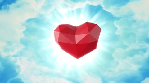 Low poly red heart. Animation for valentine's day, wedding, birthday or other funny holidays. 60 BPM