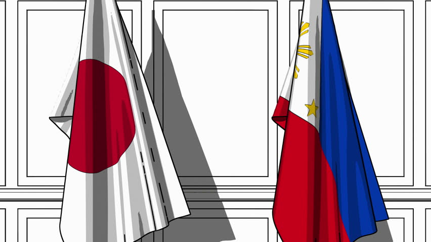 Businessmen or politicians shake hands against flags of Japan and Philippines. Official meeting or cooperation related cartoon animation | Shutterstock HD Video #1023614848
