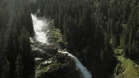Aerial: Krimml waterfalls in Austria