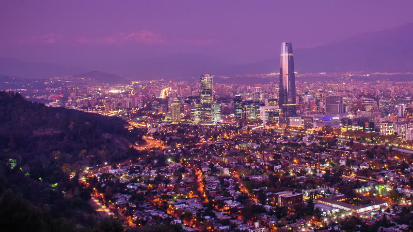 Timelapse of Santiago skyline at Dusk, panning. Chile