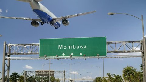 Airplane Landing Mombasa