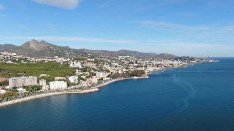 Malaga, Spain. Drone view of Malagueta, the beach of Malaga. Beautiful panorama, seaside.