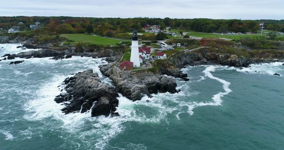 Portland Head Light Lighthouse Maine, Coast Aerial Drone