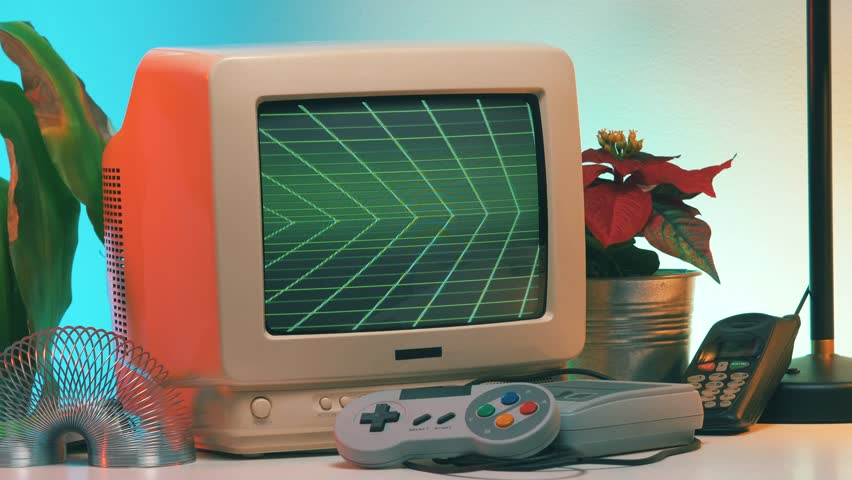 GAME OVER title appearing on Old Computer - TV Screen while the camera is slightly turning around the vintage crt monitor. | Shutterstock HD Video #1023787438