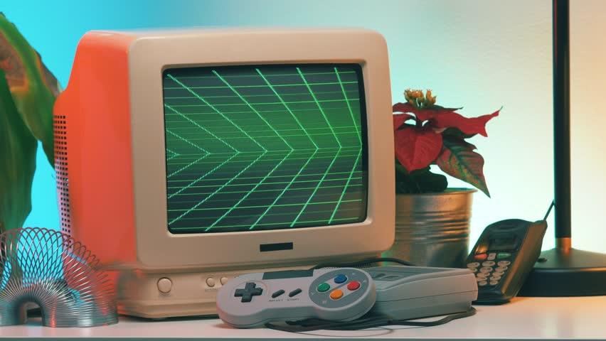 PLAY title appearing on Old Computer - TV Screen while the camera is slightly turning around the vintage crt monitor. | Shutterstock HD Video #1023787528
