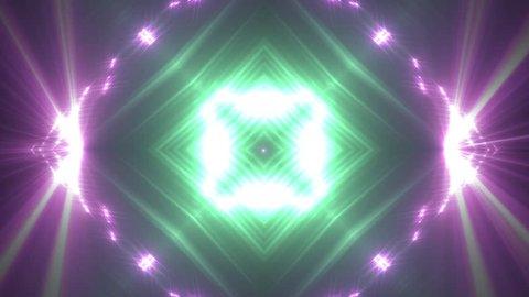 VJ Lights aquamarine and violet flashing spot light. Wall stage led blinder blinking neon. Club concert dance disco dj matrix beam fashion. floodlight halogen headlamp.