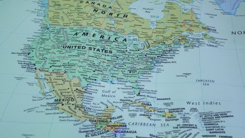 Berdichev, ukraine - february 10, 2019. geographical maps of north america  and canada.