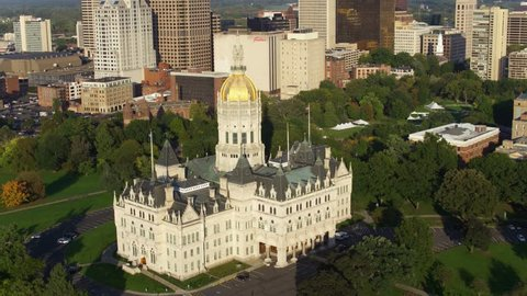 Hartford, Connecticut / United States - August 25 2018: Close-Up Hartford Connecticut State Capitol Building, Skyline Aerial Drone